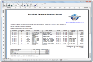 The EasyBook Reports Screen